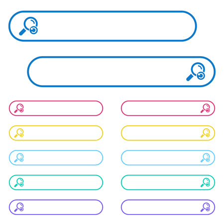 Undo search icons in rounded color menu buttons. Left and right side icon variations.  イラスト・ベクター素材