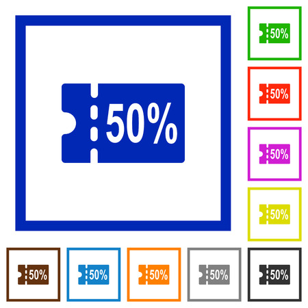 50 percent discount coupon flat color icons in square frames on white background Illustration