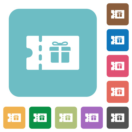 Gift discount coupon white flat icons on color rounded square backgrounds