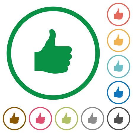Thumbs up flat color icons in round outlines on white background