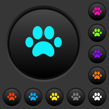 Paw prints dark push buttons with vivid color icons on dark grey background Illustration