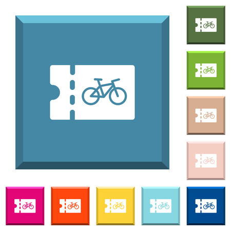 Bicycle shop discount coupon white icons on edged square buttons in various trendy colors