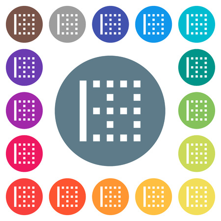 Left border flat white icons on round color backgrounds. 17 background color variations are included.