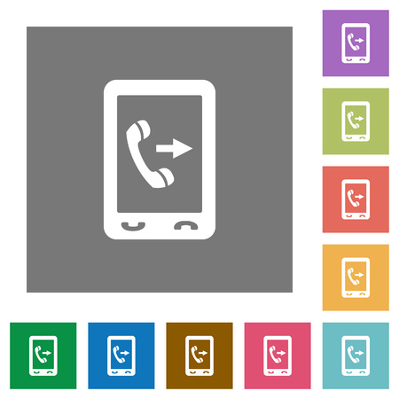 Outgoing mobile call flat icons on simple color square backgrounds Illustration