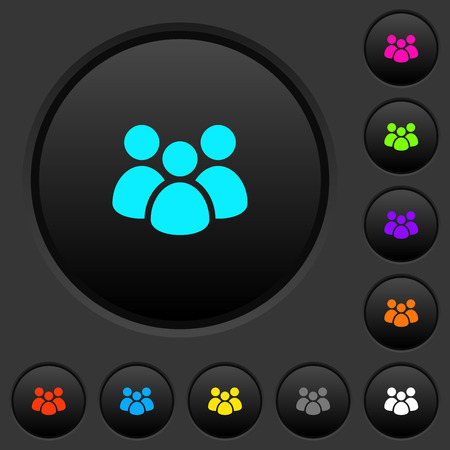 Team dark push buttons with vivid color icons on dark grey background Illustration