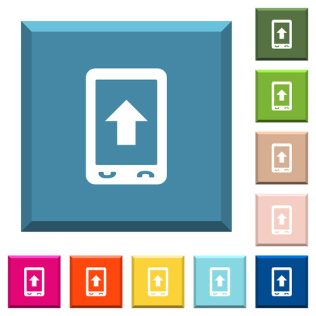 Mobile scroll up white icons on edged square buttons in various trendy colors