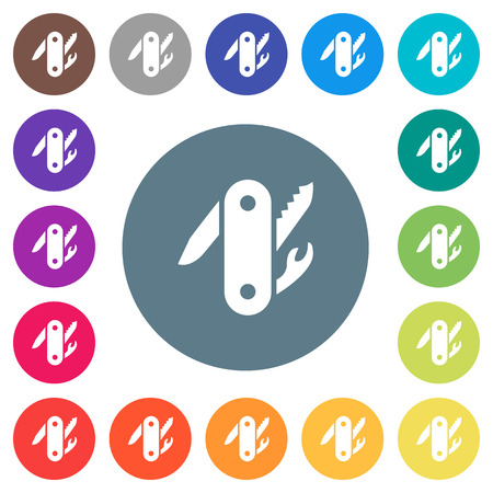 Swiss army knife flat white icons on round color backgrounds. 17 background color variations are included.