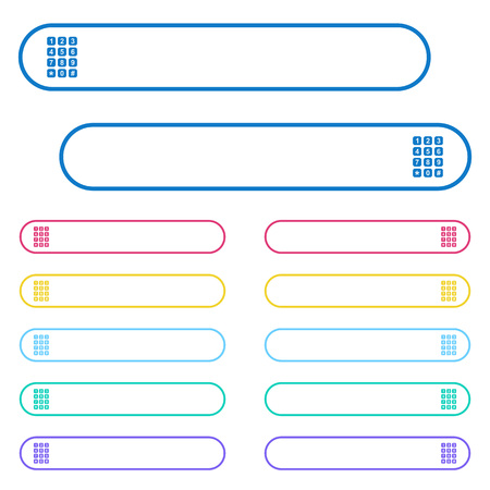 Numeric keypad icons in rounded color menu buttons. Left and right side icon variations. Illustration