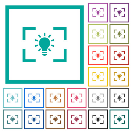 Camera white balance tungsten mode flat color icons with quadrant frames on white background Ilustrace