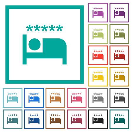 Luxury hotel flat color icons with quadrant frames on white background