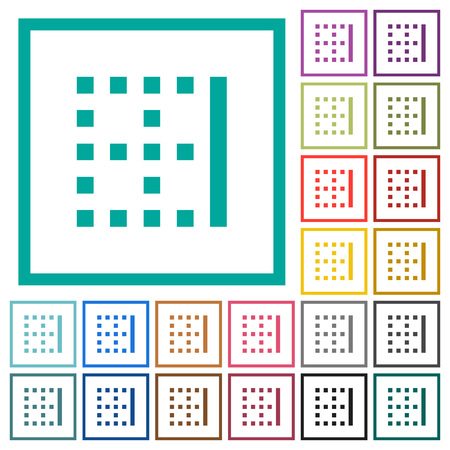 Right border flat color icons with quadrant frames on white background Illustration