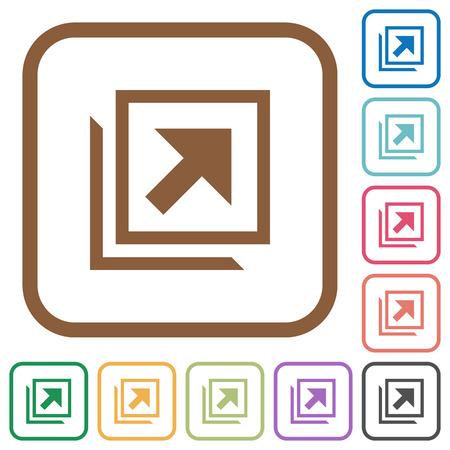 Openen in een nieuw venster eenvoudige pictogrammen in kleur afgeronde vierkante kaders op witte achtergrond Vector Illustratie