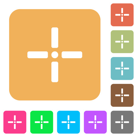 Precise cursor flat icons on rounded square vivid color backgrounds. Illustration