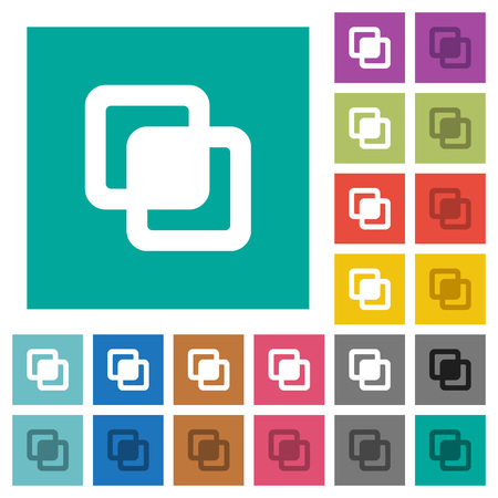Intersect shapes multi colored flat icons on plain square backgrounds. Included white and darker icon variations for hover or active effects.