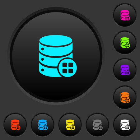Database modules dark push buttons with vivid color icons on dark grey background Illustration