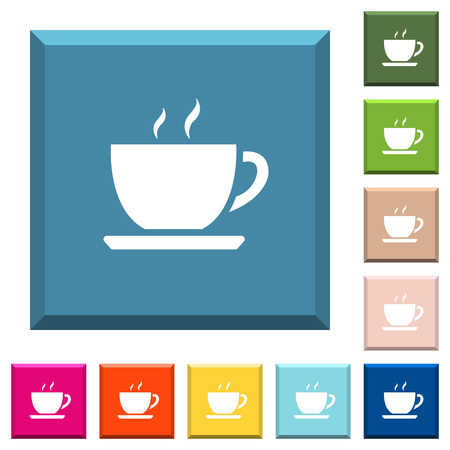 Cup of coffee white icons on edged square buttons in various trendy colors