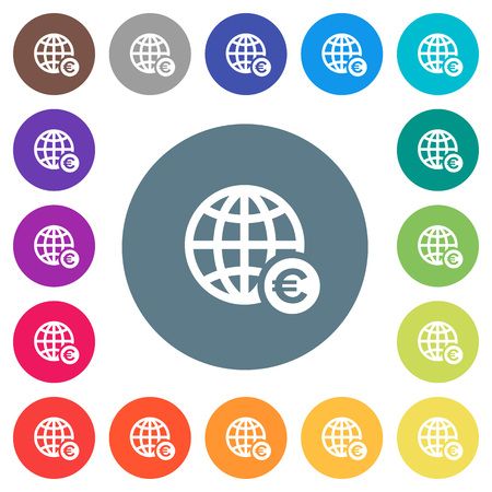 Online Euro payment flat white icons on round color backgrounds. 17 background color variations are included. Illustration