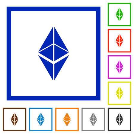 Ethereum classic digital cryptocurrency flat color icons in square frames on white background Illustration