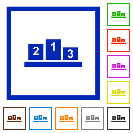 Winners podium with inside numbers flat color icons in square frames on white background