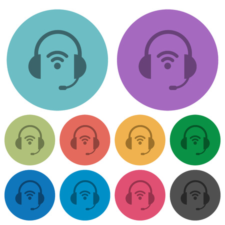 Wireless headset darker flat icons on color round background Illustration