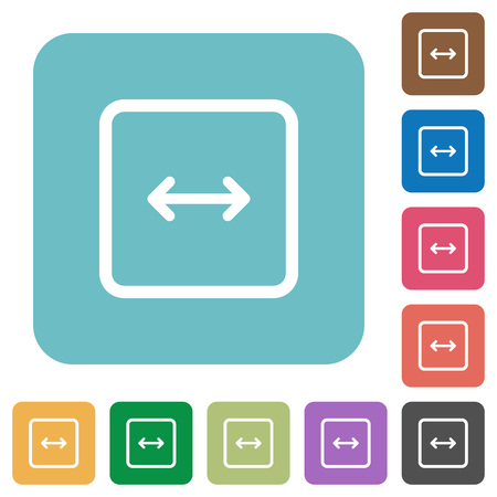 Adjust object width white flat icons on color rounded square backgrounds