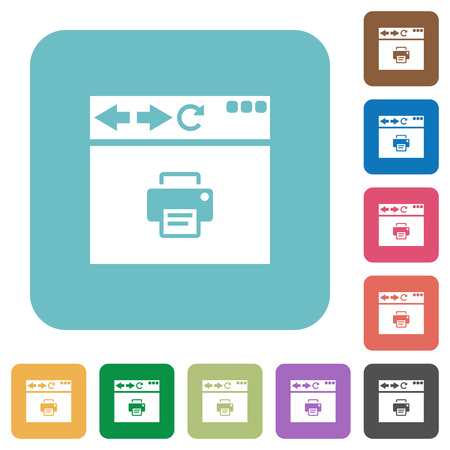 Browser print white flat icons on color rounded square backgrounds