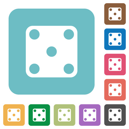 Domino five white flat icons on color rounded square backgrounds