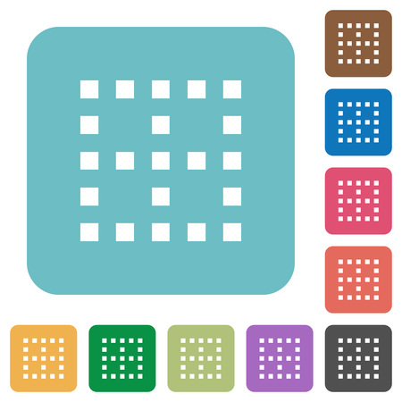 No borders white flat icons on color rounded square backgrounds Ilustracja
