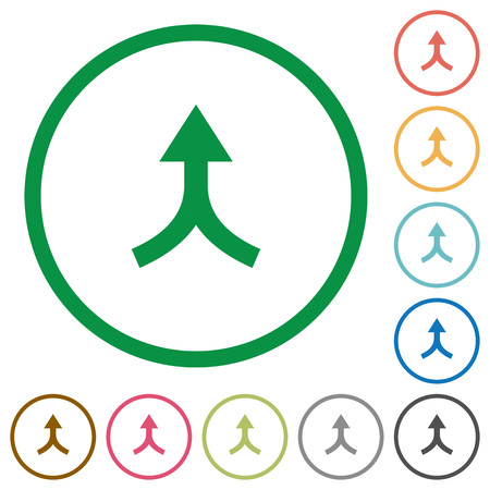 Merge arrows up flat color icons in round outlines on white background