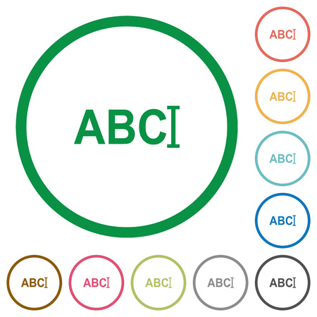 Typing text with cursor flat color icons in round outlines on white background