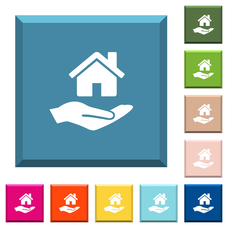 Home insurance white icons on edged square buttons in various trendy colors Illustration