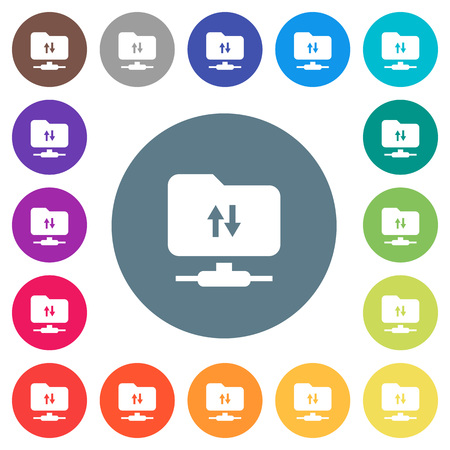 FTP data traffic flat white icons on round color backgrounds. 17 background color variations are included. Çizim
