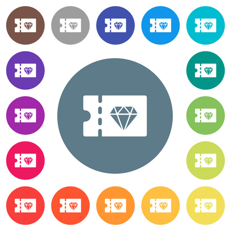 Jewelry store discount coupon flat white icons on round color backgrounds. 17 background color variations are included.
