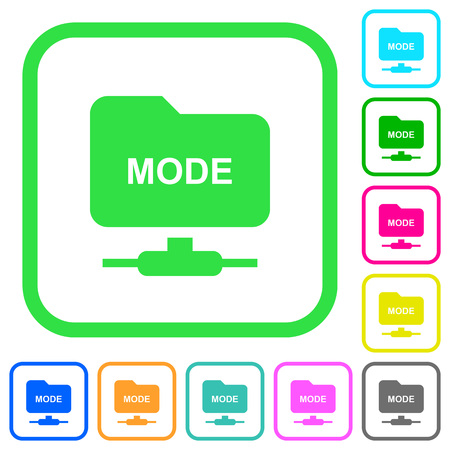 Set FTP transfer mode vivid colored flat icons in curved borders on white background Illustration