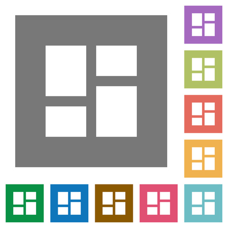 Admin dashboard panels flat icons on simple color square backgrounds