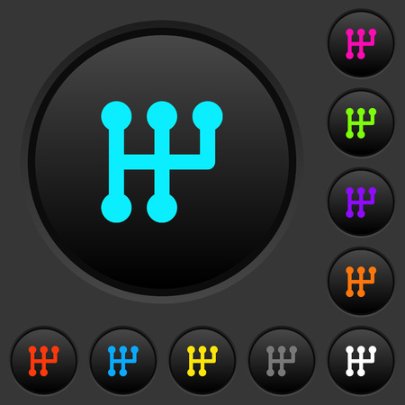 Manual shift dark push buttons with vivid color icons on dark grey background Illustration