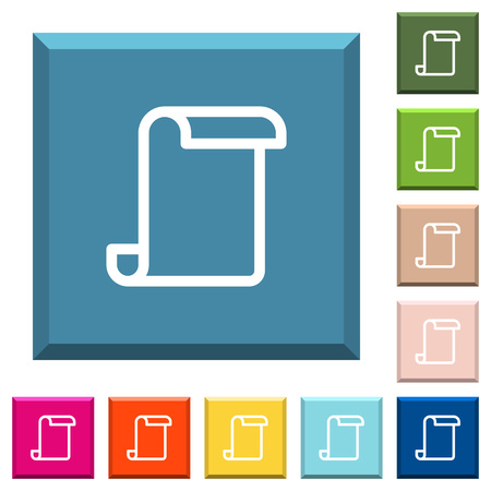 Blank paper scroll white icons on edged square buttons in various trendy colors Ilustrace
