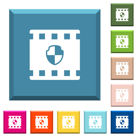 Protected movie white icons on edged square buttons in various trendy colors Ilustração