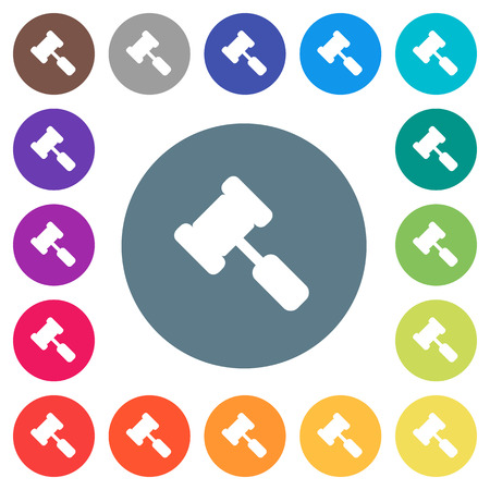 Judge hammer flat white icons on round color backgrounds. 17 background color variations are included.