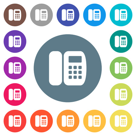 Office phone flat white icons on round color backgrounds. 17 background color variations are included.