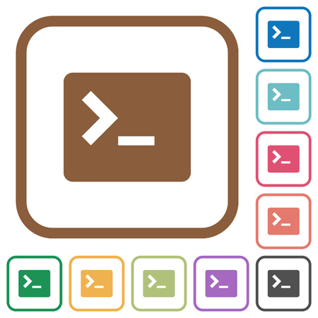 Command terminal simple icons in color rounded square frames on white background Illustration