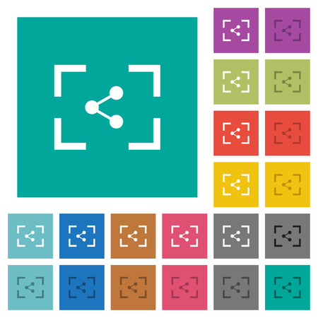 Camera share image multi colored flat icons on plain square backgrounds. Included white and darker icon variations for hover or active effects.