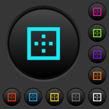 Outer borders dark push buttons with vivid color icons on dark grey background Illustration
