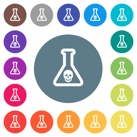 Dangerous chemical experiment flat white icons on round color backgrounds. 17 background color variations are included. Ilustrace