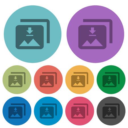 Download multiple images darker flat icons on color round background Illustration