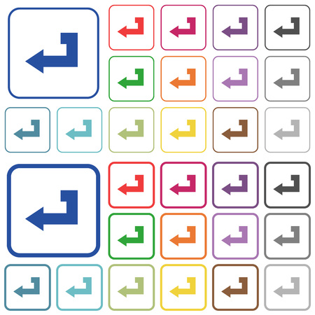 Return key color flat icons in rounded square frames. Thin and thick versions included.
