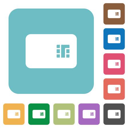 Icônes plates blanches de carte à puce sur les arrière-plans carrés arrondis de couleur