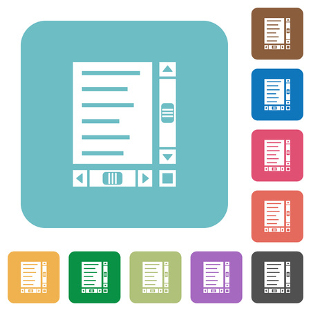 Document with content and scroll bars white flat icons on color rounded square backgrounds Foto de archivo - 111945776