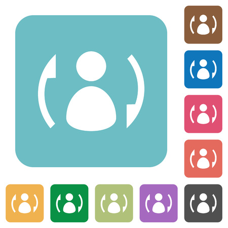Syncronize contacts white flat icons on color rounded square backgrounds
