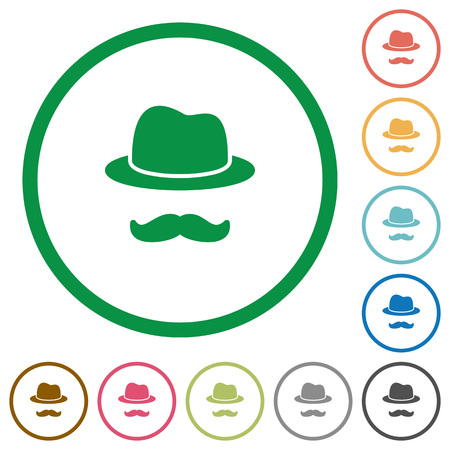 Incognito with mustache flat color icons in round outlines on white background